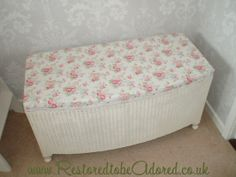Beautiful original Lloyd Loom Ottoman upcycled; hand painted and fantastic Cath Kidson fabric.