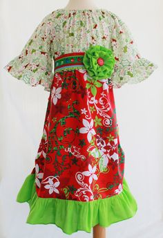 Girls Boutique Clothing. Christmas Swirl Dress by outtahand on Etsy, $30.00 www.outtahand.etsy.com