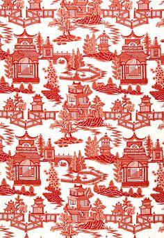 Fabric | Nanjing in Coral | Schumacher