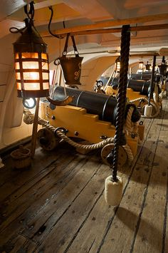 Wrong time period, but shows what the cannons might have looked like below deck - PORTSMOUTH, ENGLAND -- H. Victory, the famous flagship that Admiral Lord Nelson commanded at the Battle of Trafalger in Portsmouth. Marine Francaise, Bateau Pirate, Old Sailing Ships, Hms Victory, Ship Of The Line, Black Sails, Wooden Ship, Sail Away, Wooden Boats