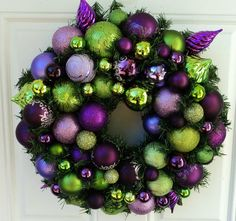peacock purple lime green christmas wreath home decor purple