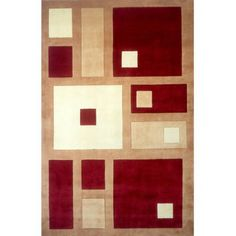 Momeni New Wave Frames Area Rug, Red