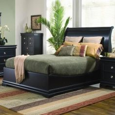 Coaster Furniture - Duncan Louis Philippe Black Wood Swept-Back Queen Sleigh Bed - 26B115