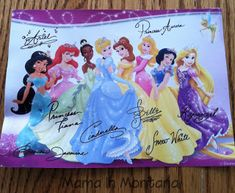 If your kids write a letter to their favorite Disney character they can receive a signed postcard.  This little girl wrote to Ariel and received this postcard signed by all the princesses.  Idea for my nieces.  Send the letter to:  Walt Disney World Communications  P.O. Box 10040  Lake Buena Vista, FL 32830-0040    ~OR~    Walt Disney Company  Attn: Fan Mail Department  500 South Buena Vista Street  Burbank, CA 91521