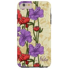 Pretty Retro Red and Purple Flowers iPhone 6 Case