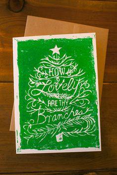 Set of 10 /// O Christmas Tree /// 5x7 Linocut Holiday Card. $32.00, via Etsy.