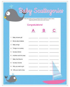 Baby Scattegories - name baby and maternity things using personalized letters of mom's name. Baby shower game.
