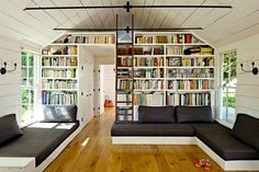 Jessica Helgerson's Tiny House Sauvie Island Portland bookshelves Tiny house living with books!  600 square feet - 2 bedrooms and large-ish living area