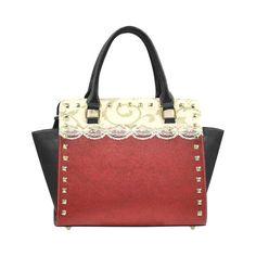 Red Velvet Antique Lace Rivet Shoulder Handbag (Model 1645)