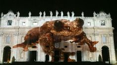 "An image of ""Toughie"" projected onto St Peter's Basilica © Photo by Joel Sartore/National Geographic"
