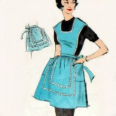 Aprons: I also chose this apron to go along with Lil' bits mothers costume. Women were responsible for all of the house work during this period of time. Women wore aprons to Help protect thier clothing during household chores. Vintage Sewing Patterns, Clothing Patterns, Sewing Ideas, Half Apron Patterns, Apron Designs, Aprons Vintage, Couture, Sewing Clothes, Diy Fashion