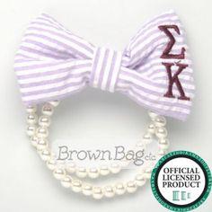Sigma Kappa Seersucker Pearl & Bow Bracelet