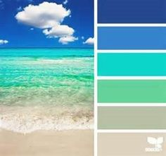 This palette for a bathroom. Beach Bliss with Color Palettes from the Shore by Design Seeds – Beach Bliss Living Design Seeds, Colour Schemes, Color Combos, Beach Color Schemes, Paint Schemes, Pantone, Color Concept, Beach Color Palettes, Turquoise Color Palettes