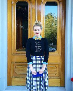 Brooklyn Sweater + Plaid & Pleats Skirt | & Apparel