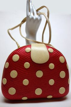 VANESSA Red Wicker and Ecru Real Snakeskin Polkadot Purse - Vintageables
