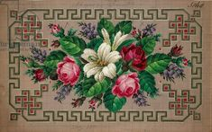 Pillow or carpet pattern with roses, wisteria, lilies and geometric motifs, 19th century