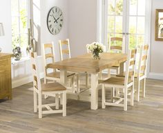 Marlow Oak & Cream Extending Dining Table with Six Marlow dining chairs