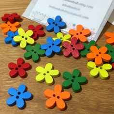 Rainbow Multicoloured Floral Shaped Buttons: Packs of 12 buttons Wooden Snowflakes, Santa Decorations, Christmas Hearts, Snowflake Designs, Button Flowers, Button Art, Wooden Hearts, Summer Crafts, Flower Shape