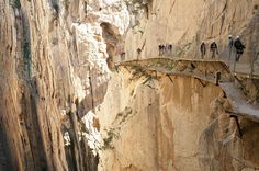 Caminito del Rey, Spain: World's scariest footpath reopens in March, but visitors will now be required to wear a helmet to walk across it. Medieval, Bergen, Antelope Canyon, Mount Rushmore, Scary, Hiking, Mountains, World, Painting