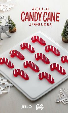 A jiggly take on a Christmas classic, JELL-O Candy Cane JIGGLERS are an easy addition to your holiday dessert repertoire. Simply use any red flavor of JELL-O Gelatin and a cookie cutter to create the desired candy cane shape for your JIGGLERS, and then dress them with COOL WHIP Whipped Topping. Super simple. Super fun!