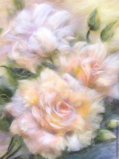Купить Картина из шерсти Кремовые розы - бежевый, картины из шерсти, живопись шерстью, Живопись