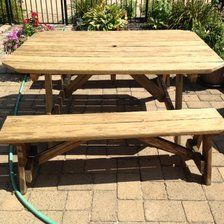 Wooden Picnic Table and 2 Benches
