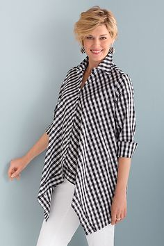 Handkerchief+Gingham+Shirt by Comfy+USA: Woven+Shirt available at www.artfulhome.com