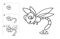 zeichnen lernen einfach-libelle-insekten-witzig-figur
