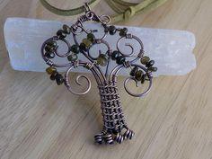 Tree of Life Pendant Petro Green Tourmaline Oxidized Copper Wire Wrapped Jewelry Handmade Crystal Healing Fantasy Renaissance Medallion