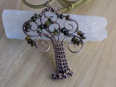 Tree of Life Pendant Petro Green Tourmaline by OurFrontYard