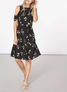 Womens Black Floral Fit And Flare Dress- Black