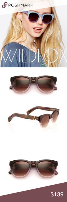 🆕 Listing! WILDFOX Monroe grapevine sunglasses MONROE SUNGLASSES  $189.00 Monroe Sunglasses in Grapevine  EACMON000  New without tags. Never worn. Doesn't come with dust bag. Only a couple of hair like scratches from storage.  CR39 optical grade lenses offering UV A and B protection 3 barrel French comotec hinge Graduated color change from deep bronze, lavender to blush Eye width: 49mm Bridge Width: 21mm Temple length: 150mm Wildfox Accessories Sunglasses