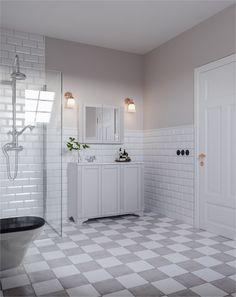 Diy Bathroom, Laundry Room Bathroom, Bathroom Interior, Small Bathroom Remodel, Victorian Bathroom, Bathrooms Remodel, Gray And White Bathroom, Laundry In Bathroom, Kitchens Bathrooms