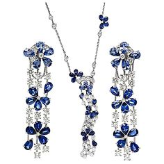 Van Cleef & Arpels Sapphire Diamond gold Suite | From a unique collection of vintage drop necklaces at https://www.1stdibs.com/jewelry/necklaces/drop-necklaces/