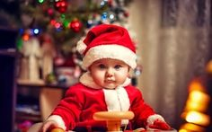 wallpaper look holiday child baby happy lights small suit of santa claus tree new year christmas - Merry Christmas Baby
