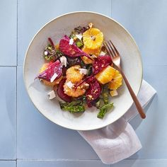 This colorful roasted beet salad recipe uses the beet greens too, but you'll likely need more than are attached--buy extra beet greens or chard, or even try kale. Serve this healthy dish alongside grilled chicken or pork tenderloin or as an impressive potluck salad.