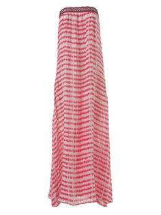 burda style, Schnittmuster - Bodenlanges Leinenkleid mit bestickter Tüllborte am Bandeau-Teil