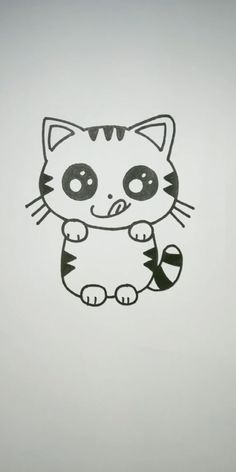 How to Draw a Kitten Super Easy Easy Animal Drawings, Easy Cartoon Drawings, Cute Little Drawings, Cute Easy Drawings, Art Drawings For Kids, Art Drawings Sketches Simple, Pencil Art Drawings, Easter Drawings, Cute Drawings Of Animals