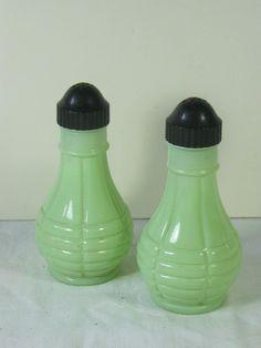 Vintage JADITE Shakers JADEITE Salt & Pepper Set by LavenderGardenCottag