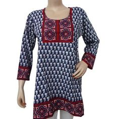 Ibaexports Women Long Kurti Polyester Beach Floral Blouse Blue Summer Knit Top Tunic India Clothing Casual Wear Dress Sz S ibaexports. $25.99