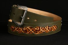 Leather Belt green leather belt with a Celtic by EthosCustomBrands, $301.00