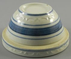 ♥ ~ ♥ Blue and Yellow ♥ ~ ♥ Tiny Yellow Ware Bowl with Shoulder Blue Stripes Vintage ~ Antique Stoneware, Vintage Bowls, Mixing Bowls, Pottery Making, Pottery Bowls, Vintage Pottery, Vintage Yellow, Vintage Kitchen, Blue Stripes