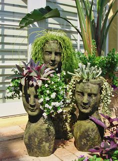 Lovely head planters from Stoneface Creations Chia Pet, Backyard Planters, Head Planters, Concrete Planters, Galvanized Planters, Backyard Sheds, Unique Gardens, Beautiful Gardens, Modern Gardens