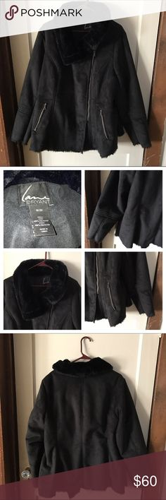 """Like New! Faux Suede Jacket Faux suede jacket with 2 front zipper pockets. Entire jacket is lined with faux fur. Moto-style zipper.  Length: 27-1/2"""". Armpit to armpit: 26"""". Lane Bryant Jackets & Coats"""