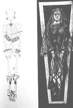 """""""Queen Arnegunde"""" (c 515-c 580) of the Merovingian Dynasty. Her grave finds and interpretation of burial."""" My 43rd,46th, 47th, 48th & 52nd GGM."""