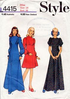 1970s Vintage Style Sewing Pattern 4415
