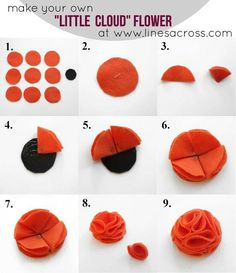 The Little Cloud Flower - Lines Across All you need is 10 felt circles and a hot glue gun to make these little cloud flowers I realized I haven't posted a new felt flower tutorial in a long time. I love making this type of felt flower. Cut out 9 felt ci Pom Pom Flowers, Diy Flowers, Fabric Flowers, Paper Flowers, Flower Diy, Dahlia Flower, Flower Ideas, Felt Diy, Felt Crafts