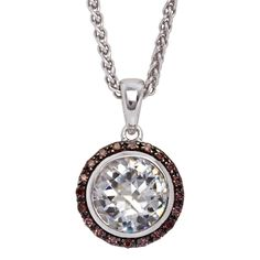 The most eye catching feature of this gorgeous sterling silver necklace is a white cubic zirconia surrounded by a halo of smaller cubic zirconias in an intense chocolate colour. The contrasting colours of this halo style design makes for a versatile piece that can comfortably be combined with any outfit. Light Colors, Colours, Chocolate Color, Sterling Silver Necklaces, Pocket Watch, Halo, Gems, Stone, Outfit
