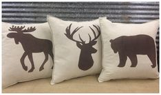 Pillow with a Moose silhouette. Cabin decor Hunting decor Lodge decor Moose pillow Decorative Pillow with a Moose silhouette. by CreativePlacesDecorative Pillow with a Moose silhouette. by CreativePlaces Hunting Lodge Decor, Hunting Themes, Rustic Lodge Decor, Moose Decor, Bedroom Themes, Bedroom Ideas, Pillow Set, Deer Pillow, Decor Pillows