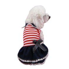"""Cheap Mascotas Cachorro de Perro de mezclilla Raya Traje de La Princesa Vestido de Encaje Plisado de Solapa de La Raya Del Arco Suministros Para Mascotas Perro, Compro Calidad Vestidos para perro directamente de los surtidores de China: si usted tiene gusto de nuestros productos, por favor """" Añadir a la Lista de Deseos """" o """" Añadir a Mis Ti"""